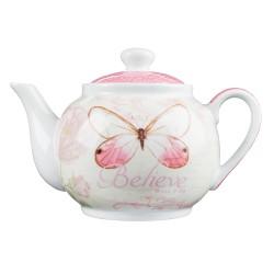 ابريق شاي الفراشة الوردية