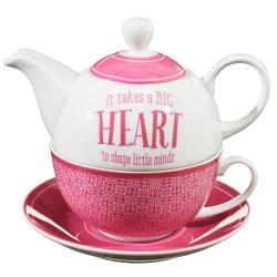 ابريق شاي القلب الوردي الكبير
