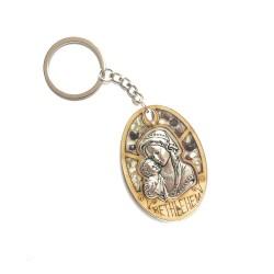 ميدالية مفاتيح - خشب زيتون -ايقونة  مريم العذراء والطفل يسوع