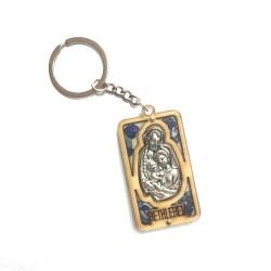 ميدالية  مفاتيح - خشب زيتون - ايقونة العائلة المقدسة