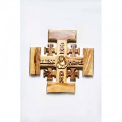 صليب خشب - زيتون - الاراضي المقدسة - يارب احفظ هذا البيت - حجم صغير