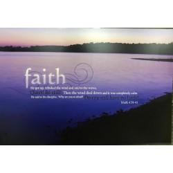 لوحة خشبية -  فقال لتلاميذه لماذا خفتم يا قليلي الايمان هل ليس فيكم ايمان ؟