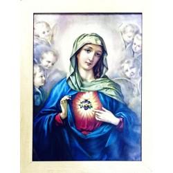 برواز  قلب مريم الطاهر - خشب معتق - حجم كبير - موديل 2