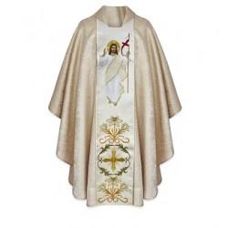 بدلة قداس - ذهبي - خط وسط - صورة المسيح القائم