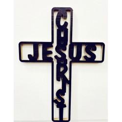 صليب خشب - تعليق - يسو ع المسيح - انكليزي - عربي