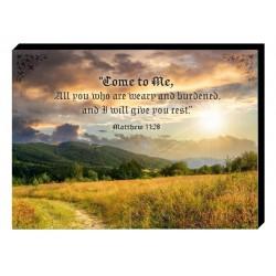 لوحة خشبية - تَعَالَوْا إِلَيَّ يَا جَمِيعَ الْمُتْعَبِينَ وَالثَّقِيلِي الأَحْمَالِ، وَأَنَا أُرِيحُكُمْ (مت 11: 28)