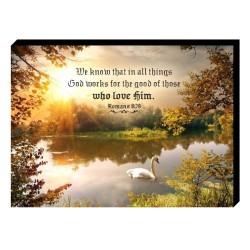 لوحة خشبية - ونحن نعلم أنه في كل شيء يعمل الله من أجل الخير من أولئك الذين يحبونه