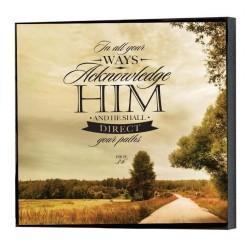 """لوحة خشبية - """"فِي كُلِّ طُرُقِكَ اعْرِفْهُ، وَهُوَ يُقَوِّمُ سُبُلَكَ."""" (أم 3: 6)"""