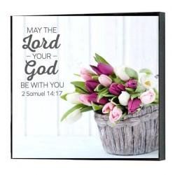 """لوحة خشبية -  لِيَكُنْ كَلاَمُ سَيِّدِي الْمَلِكِ عَزَاءً، لأَنَّهُ سَيِّدِي الْمَلِكُ إِنَّمَا هُوَ كَمَلاَكِ اللهِ لِفَهْمِ الْخَيْرِ وَالشَّرِّ، وَالرَّبُّ إِلهُكَ يَكُونُ مَعَكَ»."""" (2 صم 14: 17)"""