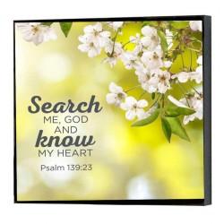"""لوحة خشبية - """"اخْتَبِرْنِي يَا اَللهُ وَاعْرِفْ قَلْبِي. امْتَحِنِّي وَاعْرِفْ أَفْكَارِي."""" (مز 139: 23)"""