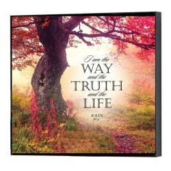 """لوحة خشبية - """"قَالَ لَهُ يَسُوعُ: «أَنَا هُوَ الطَّرِيقُ وَالْحَقُّ وَالْحَيَاةُ. لَيْسَ أَحَدٌ يَأْتِي إِلَى الآبِ إِلاَّ بِي."""" (يو 14: 6)"""
