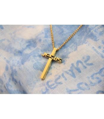 سنسال ستانلس - صليب مع كلمة يسوع  - ذهبي
