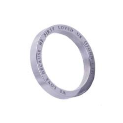 خاتم ستانلس فضي - نحبه لانه احبنا - حجم 6
