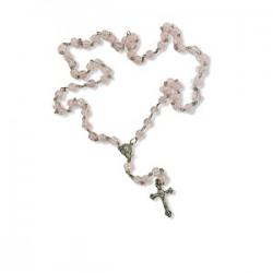 المسبحة الوردية - كرستال - حبة كبيرة - لون زهري