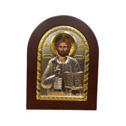 ايقونة المسيح فضية مذهبة مع قاعدة خشب